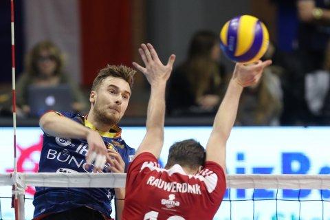 VOLLEY PALLAVOLO. FINALE  2018 CEV Volleyball, challenge Cup. Bunge Ravenna - Olypiacos Pireus Atene. Buchegger